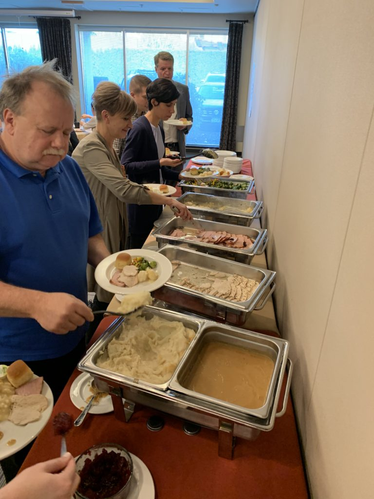 Lunch Hosted By: Bonduelle Vegetables, Ham from Maple leaf, Roasted Turkey from Olymel, Treo Gravy from Nestle, Tempura Chicken from Olymel, Mashed Potatoes by Reser's , Luigi's Frozen Custard